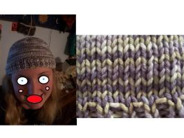 Purple and Green HAT OF DOOM by cyla-knits