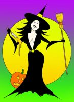 Witch And Pumpkin (Magnet) by ROMAN-HELMET