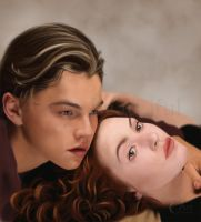 A Painting of Jack and Rose from Titanic by jht888