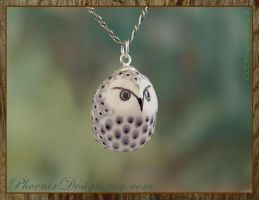Ceramic Owl Pendant - Grey, White and Lilac by StephaniePride