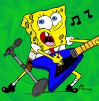 Guitaring Spongebob-colored by spongefox