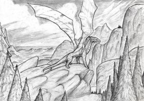 Cliffs and dragon by Nibilli