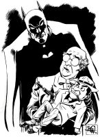 Batman and The Ventriloquist ink sketch by RougeDK