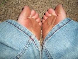 My feet, stained from years on the yard and street by Yumelunarose