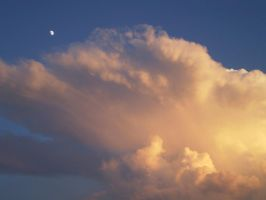 clouds, sunset, moon by chelseaeh