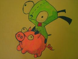 Gir Rides the Pig by SushiSprinkles