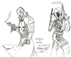 Deadpool VS Punisher by Pyr0f0x