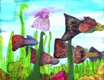 Colorful Guppies Fish Painting by bRiANmoSsARt