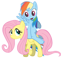 Fluttershy and Rainbow Dash by Zengel