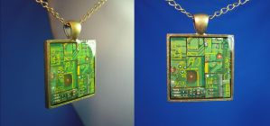 Circuit Board Pendant Pieces by Llyzabeth