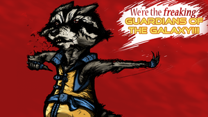Rocker Raccoon: -We're the freaking GoTG! by BoxlessCat