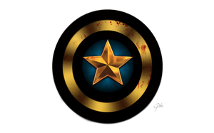 Captain America Shield Black and Gold by KellCandido
