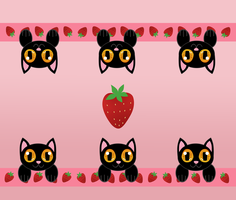 Strawberry kittens by LyricaBelachium