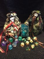 First dice bags - Totem and Forest by garnetbear