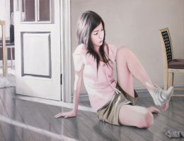 Girl takes off the Socks at the Door by Guangtung