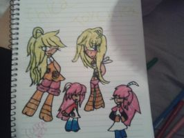 Chica, toy chica and the cupcakes as humans by Ask-Tabitha-Cartman