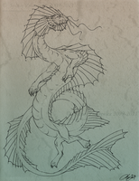 Waterdragon Lineart by SunStateGalleries