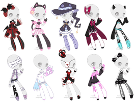Spooky outfit adopts - CLOSED by kawaii-antagonist