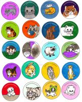 Funny Cats - Illustrations for Buttons by artshell
