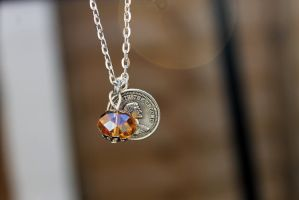 Silver Coin and Gold Crystal Necklace by Clerdy