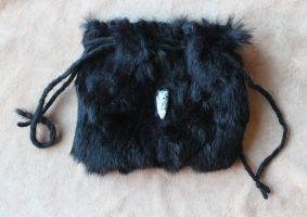 Black Rabbit Fur and Orthoceras Pouch by lupagreenwolf