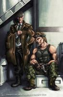 Grey Fox and Solid Snake by chibi-j