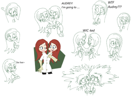 Avery and Audrey doodles by Samthelily