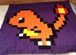 Pixel Charmander Blanket by BirdyBunnyCreations