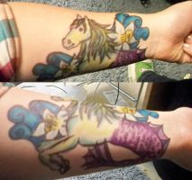 Sharpie Tattoo: Hippocamp and Poet's Narcissus by bueatiful-failure