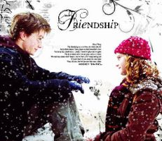 Harry and Hermione and snow by Cerisanne