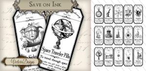 Printable Steampunk Apothecary Labels Economic by VectoriaDesigns