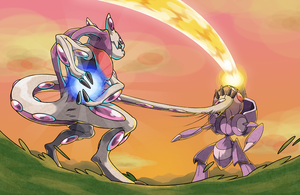 Mewthree VS Genesect by pokeluka