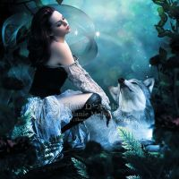Girl with wolf by Fae-Melie-Melusine