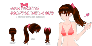 MMD Brunette Ponytail With A Bow by Tehrainbowllama