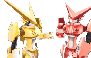 MMD Omegashoutmon anime version and red version by Clonesaiga