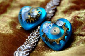 Steampunk Blue Gold Hearts by OcularFracture