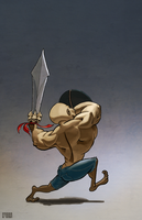 Buff Dude with sword by GRUESUMM