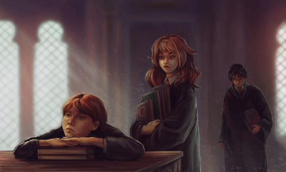 Ron and Hermione by Nisato