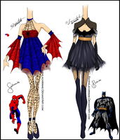 SpiderMan and BatMan Inspired Design by ravenlachrimae