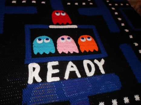 Close up Pacman Blanket by PiNiKoLi