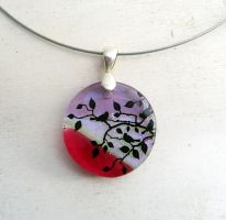 Birds in the Tree Fused Glass Necklace by FusedElegance