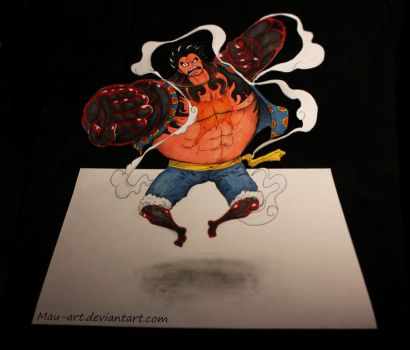 Luffy Gear Fourth - drawing 3D in paper by Mau-Art