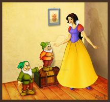 Snow White and only two dwarfs by imlikeabird