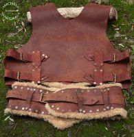 Leather Chest Armor whit Fur and Broad Belt (back) by IlMoro89