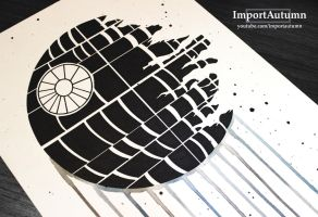 InkTober Day 4 - The Deathstar! by ImportAutumn