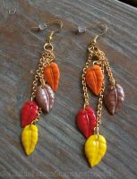 Gold Fall Leaf Earrings by CantankerousCupcake