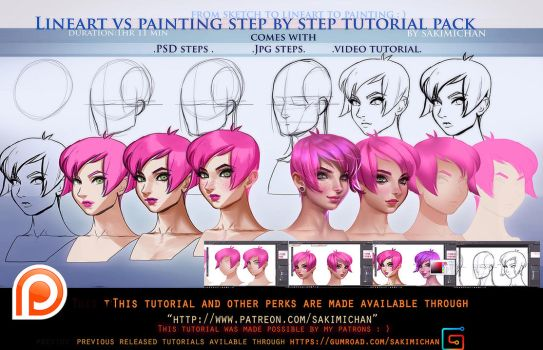 lineart vs Painting steps tutorial pack.promo. by sakimichan