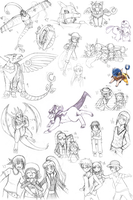 Digimon Sketch Dump 2 by ashflura