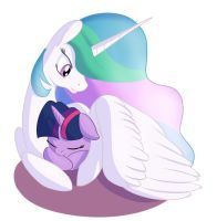 Twilight Celestia Cuddles by PostScripting