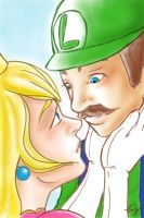 Princess Peach and Luigi by Dame-Cruz